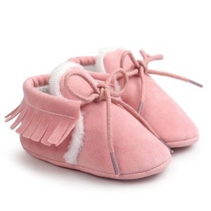 Other - Pink Suede Baby Moccasins